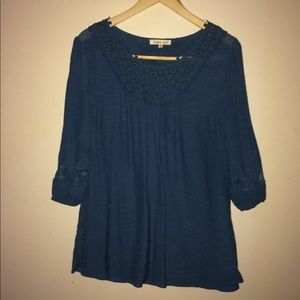 Indigo Soul Tunic with Embroidered Neckline Teal